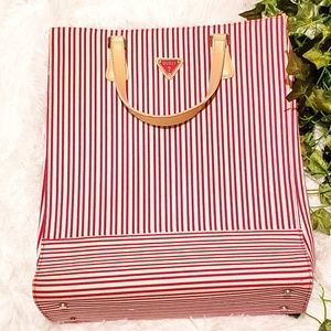 Guess Red White stripe messenger tote